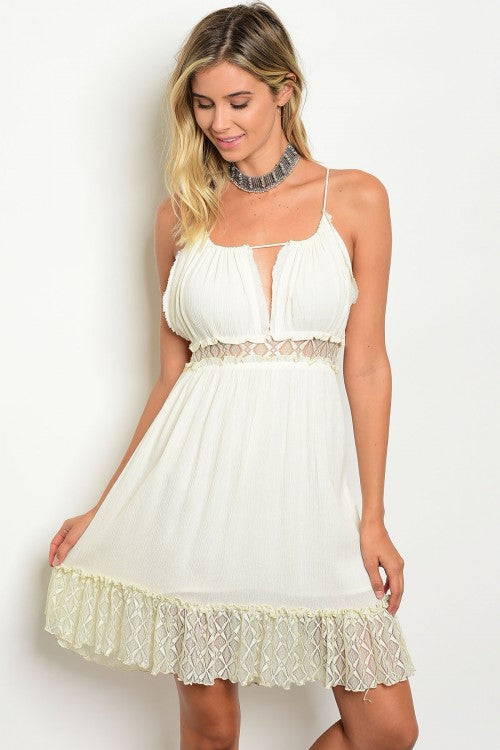 Misses Ivory Dress with Lace Accents