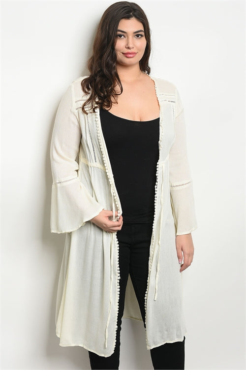 ivory open front plus size cardigan