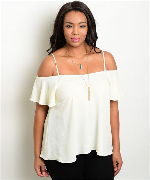 Women's Plus Size Ivory Off Shoulder Top with Straps