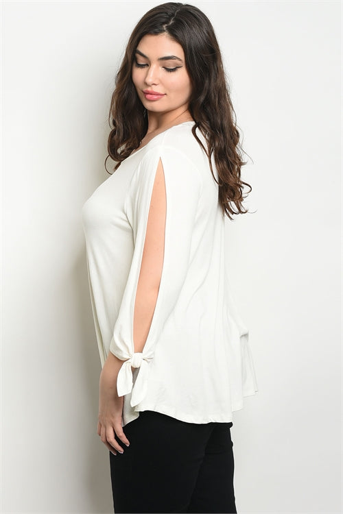 ivory slit sleeve plus size top