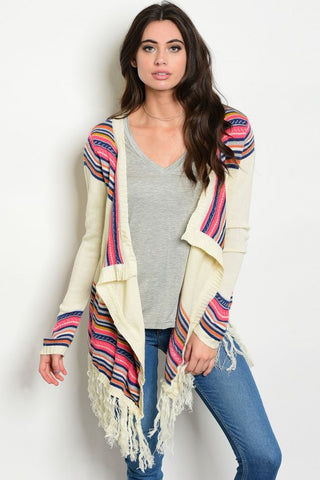 Misses Ivory and Pink Sweater Cardigan with Fringe