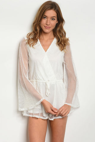 Misses Ivory White Mesh Lace Romper with Bell Sleeves