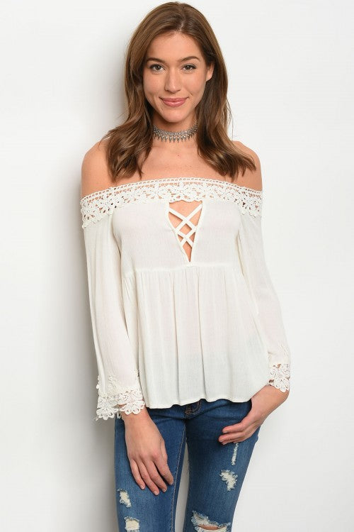 Misses Ivory White Off Shoulder Lace Accent Top