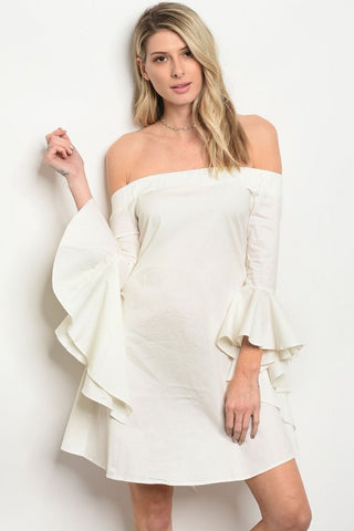 Misses Ivory White Off Shoulder Bell Sleeve Poplin Dress