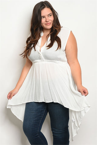 Ivory White Plus Size Babydoll Top