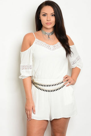 Ivory White Crocheted Lace Accent Plus Size Romper with Belt