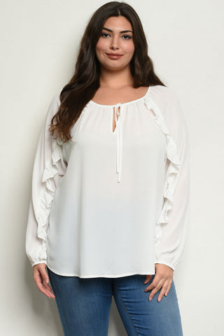 Ivory White Long Sleeve Ruffled Plus Size Blouse