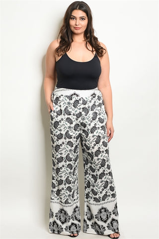 Ivory and Black Wide Leg Palazzo Plus Size Pants