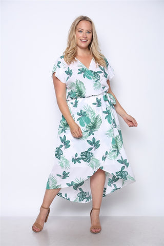 Green Floral Print High Low Plus Size Maxi Dress