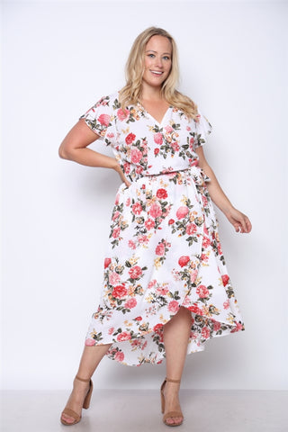 Pink Floral Print High Low Plus Size Maxi Dress