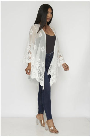 White Lace Open Front Cardigan