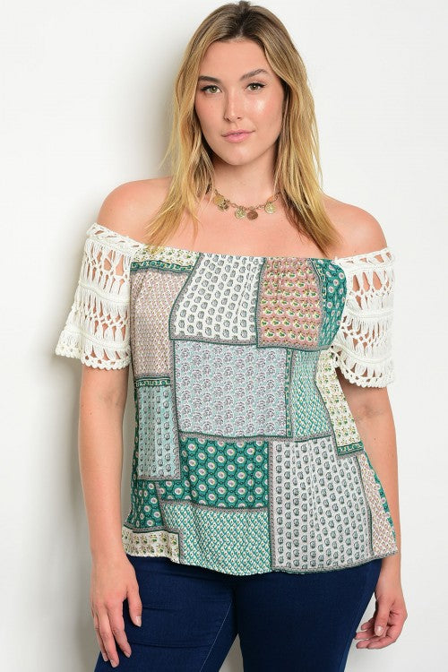 Jade Multi Print Crocheted Lace Plus Size Top
