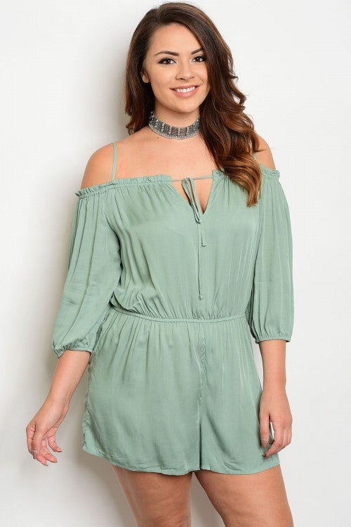 Women's Plus Size Jade Green Romper