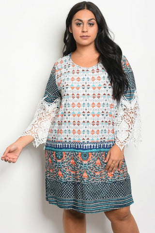 Ivory and Jade Multi Print Plus Size Lace Accent Dress