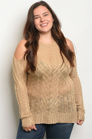 Khaki Cold Shouler Plus Size Sweater