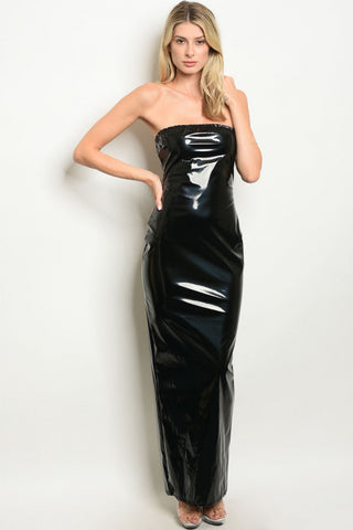 Misses Black Faux Latex Strapless Maxi Dress