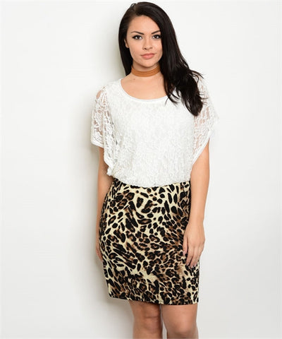 Women's Plus Size Leopard Print and Lace Bodycon Dress