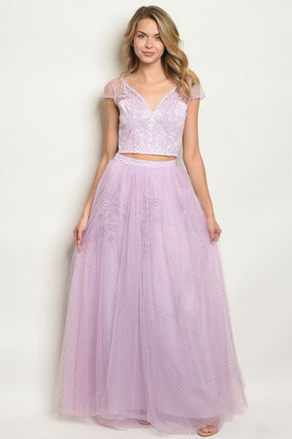 2pc Lavender Lace Top and Skirt Set