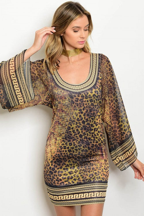 MIsses Leopard Print Bodycon Dress with Kimono Sleeves