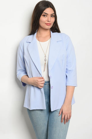 Lilac Blue 3/4 Sleeve Plus Size Blazer