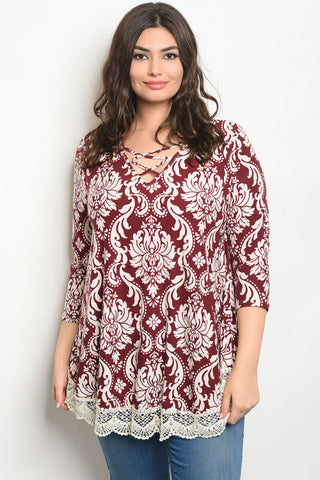 Maroon and Ivory Floral Plus Size Tunic Top