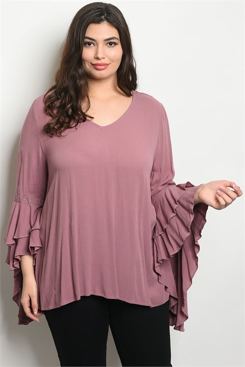 Mauve Pink Double Bell Sleeve Plus Size Tunic Top