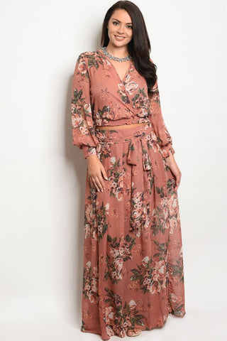 Mauve Pink Floral Plus Size Chiffon Top and Maxi Skirt Set