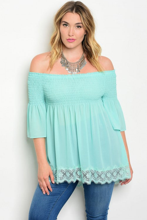 Women's Plus Size Mint Green Tunic Top with Lace Accents