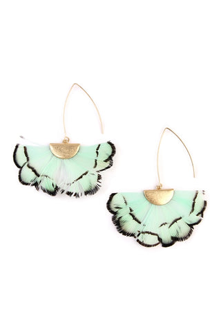 Mint Green Butterfly Threader Earrings