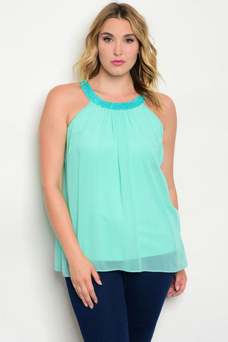 Mint Chiffon Plus Size Cold Shoulder Top with Beaded Neckline