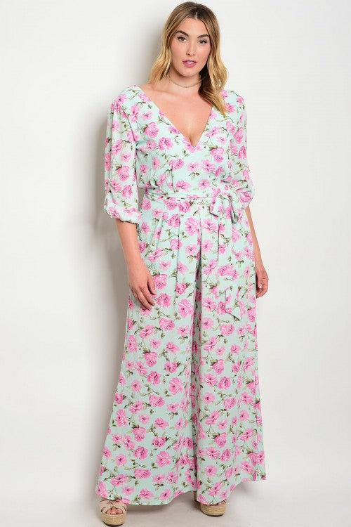 mint green and pink floral wide leg plus size jumpsuit