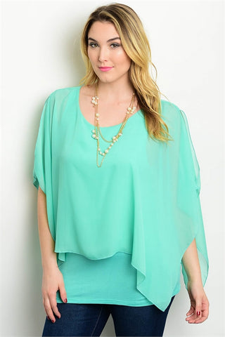 Mint Green Cutout Batwing Sleeve Relaxed Fit Plus Size Top