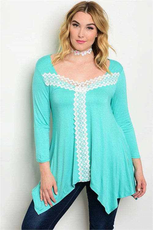 Women's Plus Size Mint Green Long Tunic Top
