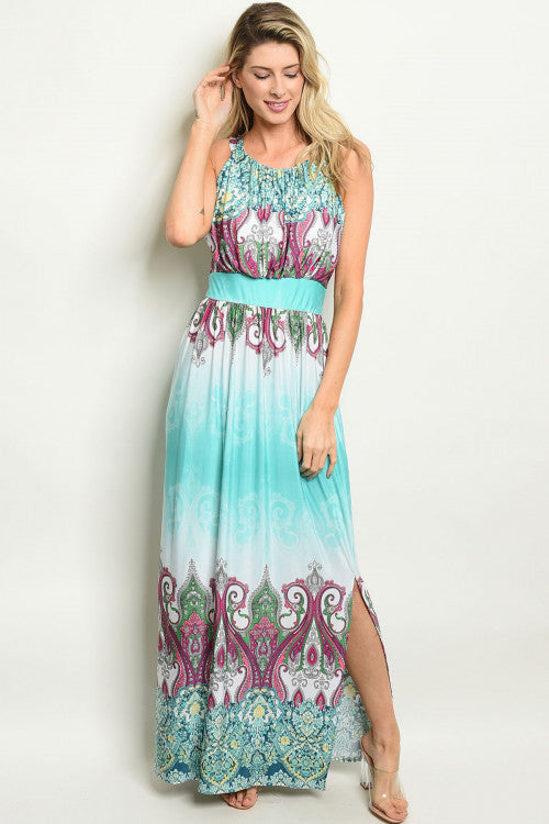 mint green paisley print maxi dress