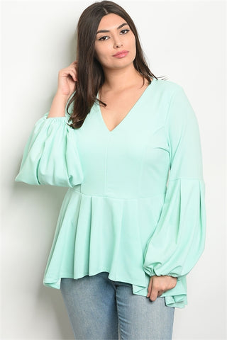 Mint Green Long Puffy Sleeve Plus Size High Low Top