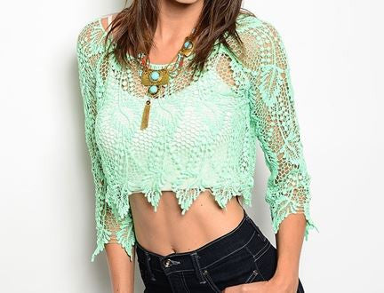Misses Sexy Mint Crocheted Lace Cover Up Crop Top