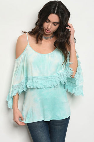 Mint Green Tie Dye Cold Shoulder Top
