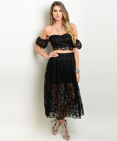 Misses Black Lace Crop Top and Skirt Set