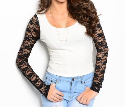 Misses Ivory Top with Black Lace Sleeves