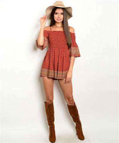 Misses Dark Rust Bohemian Style Romper with Bell Sleeves