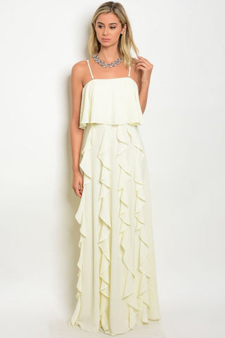 Misses Ivory Ruffled Accent Spaghetti Strap Maxi Dress