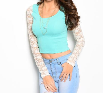 Misses Mint Top with White Lace Sleeves