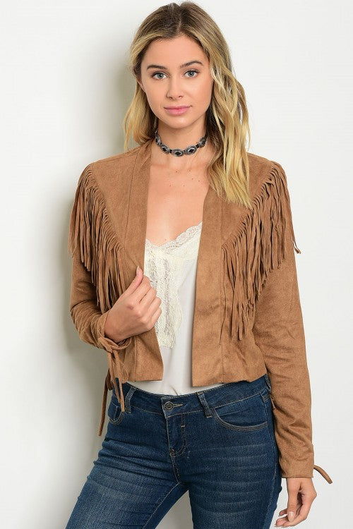 Misses Camel Brown Suede Jacket with Fringe Accents