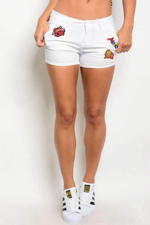 Misses White Shorts with Patch Details
