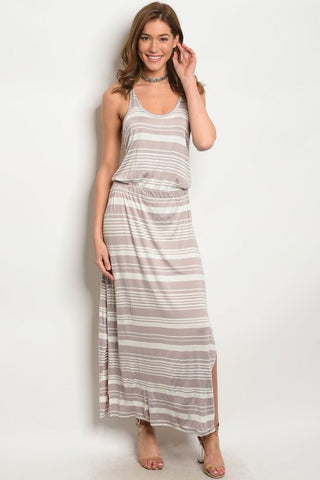 Mocha and Ivory Racer Back Maxi Dress