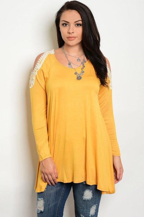 Mustard Yellow Exposed Shoulder Lace Accent Top Plus Size