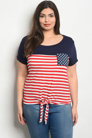 Navy Blue American Flag Plus Size Jersey Knit T-Shirt