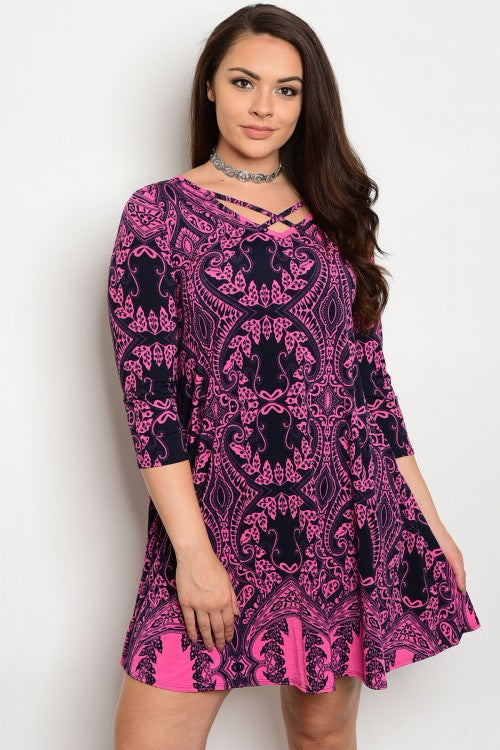 Navy Blue and Pink Crossed Neckline Tunic Dress