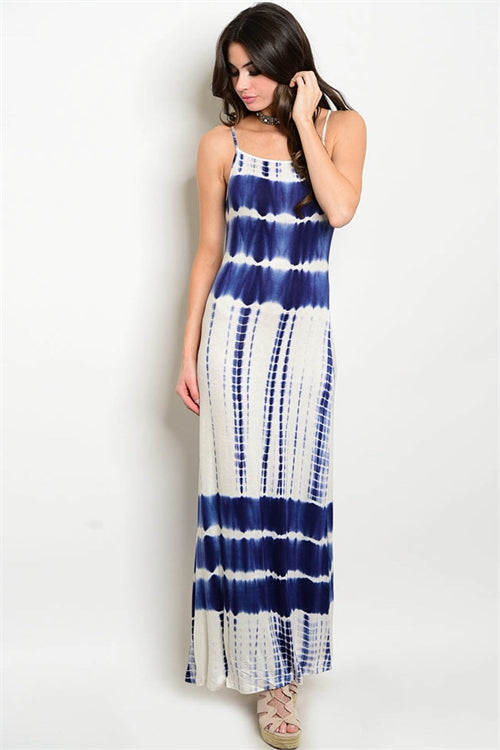 Misses Navy Blue and White Tie Dye Jersey Knit Maxi Dress