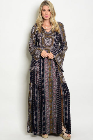 Misses Navy Blue Print Boho Inspired Maxi Dress